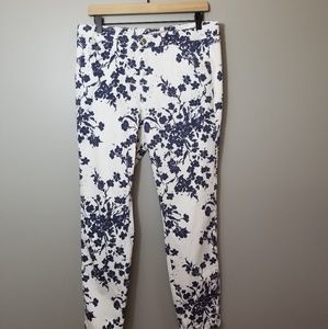 Philosophy white navy pattern jeans